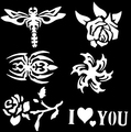 100 Mixed Design Sheets Stencils for Body Painting Glitter Temporary Tattoo Kit wholesale Free shipping