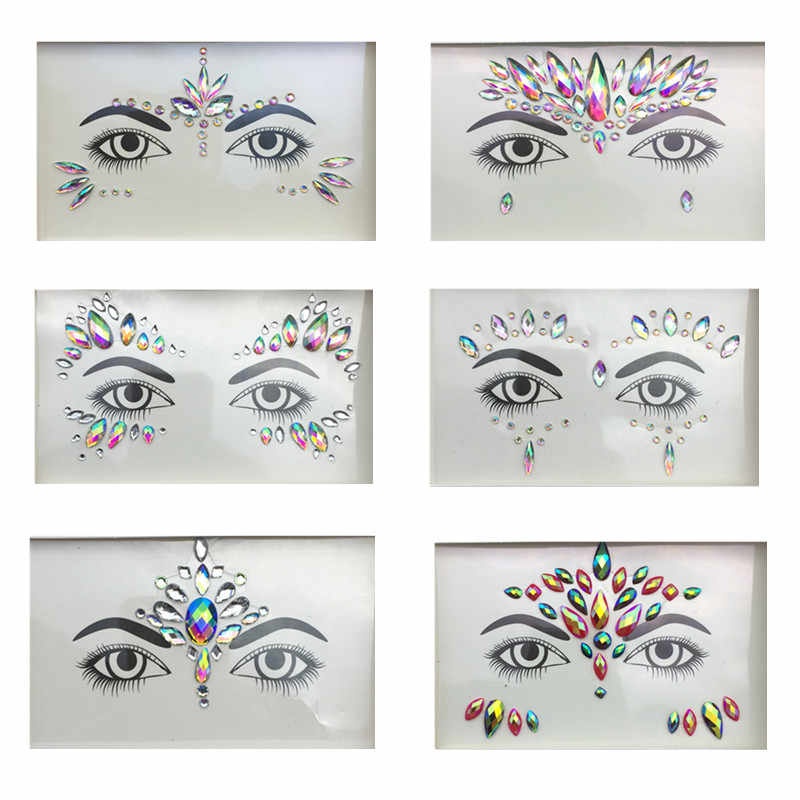 Maskeli yüz dekorasyon DIY takı akrilik Rhinestone festivali parti geçici dövme moda yüz çıkartmalar kadınlar için