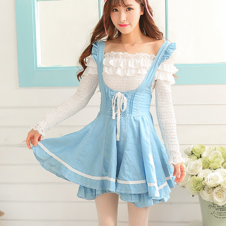 Princess sweet lolita dress Maid soft sweet college lace sister tall waist body cowboy braces UF55