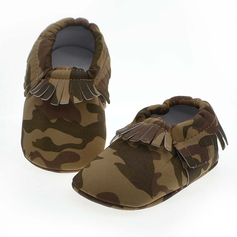 Baby Kids Toddler Soft Tassel Style Comfortable Baby Shoes Unique Army Green Color Newborn Baby Shoes Age 0-15 Months Wholesale