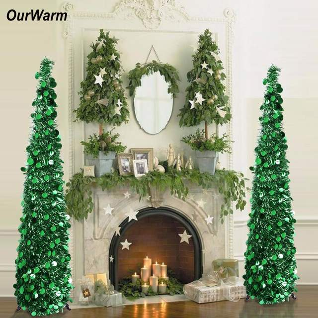 Us 26 24 40 Off Ourwarm 5ft Pop Up Artificial Christmas Tree Decorations Tinsel Collapsible Fake New Year S Tree Easy To Put Up And Store In Trees