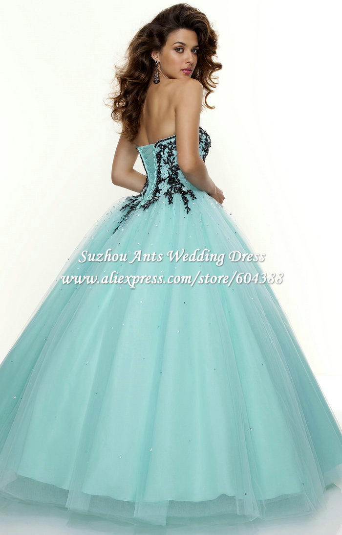 Aliexpress.com : Buy Partysu Sweetheart Turquoise Quinceanera ...