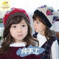 Korea New Children Hat Winter Colorful Handmade Cap Baby Hat Winter Hair Cone Top Hair Ball