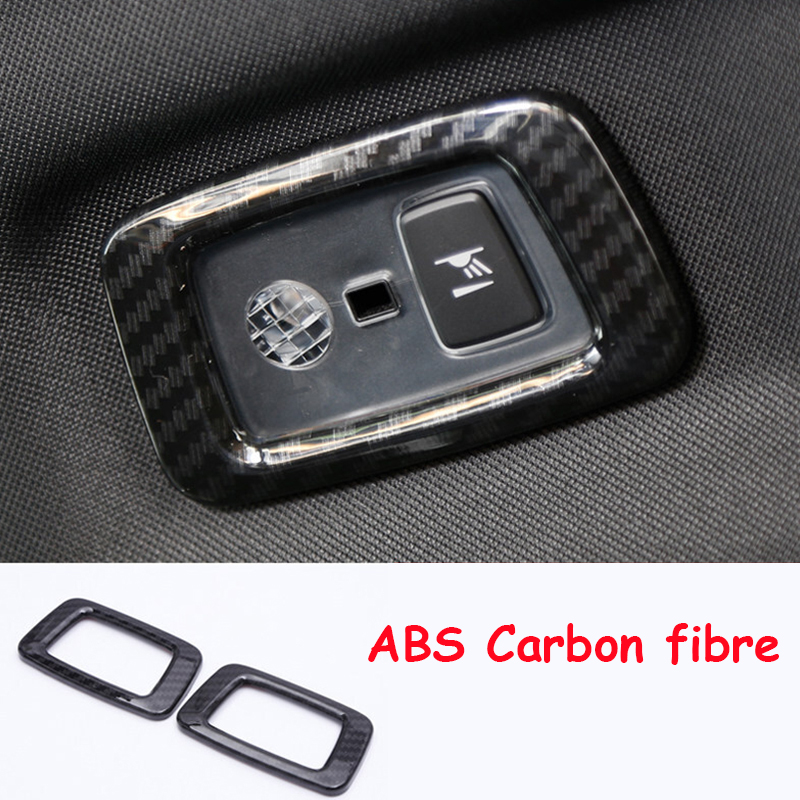 For Volvo <font><b>XC60</b></font> 2018 2019 <font><b>Carbon</b></font> fibre Car rear reading Lampshade frame panel decoration Cover Trim auto accessories car styling image
