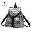 2016 New Fashion Women PU Backpack Lady Japan Style Diamond Lattice Mosaic Travel Bag String Large School Bag for Teenagers Girl