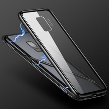Business Case For Samsung Galaxy S8 S9 S10 Plus Note 8 9 Magnetic A7 J4 J6 2018 A50 Metal Frame + Tempered Glass Cover