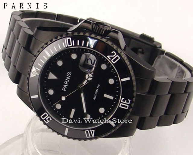 6ce30ae714196 Parnis 40mm black stainless steel case black dial Ceramic Bezel sapphire  glass automatic mens pvd watch
