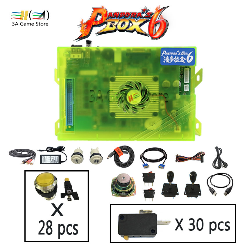 Boîte Pandora 6 1300 en 1 jeu jamma conseil joystick boutons kit de bricolage contrôle d'arcade avec pièces d'alimentation d'accepteur de pièces