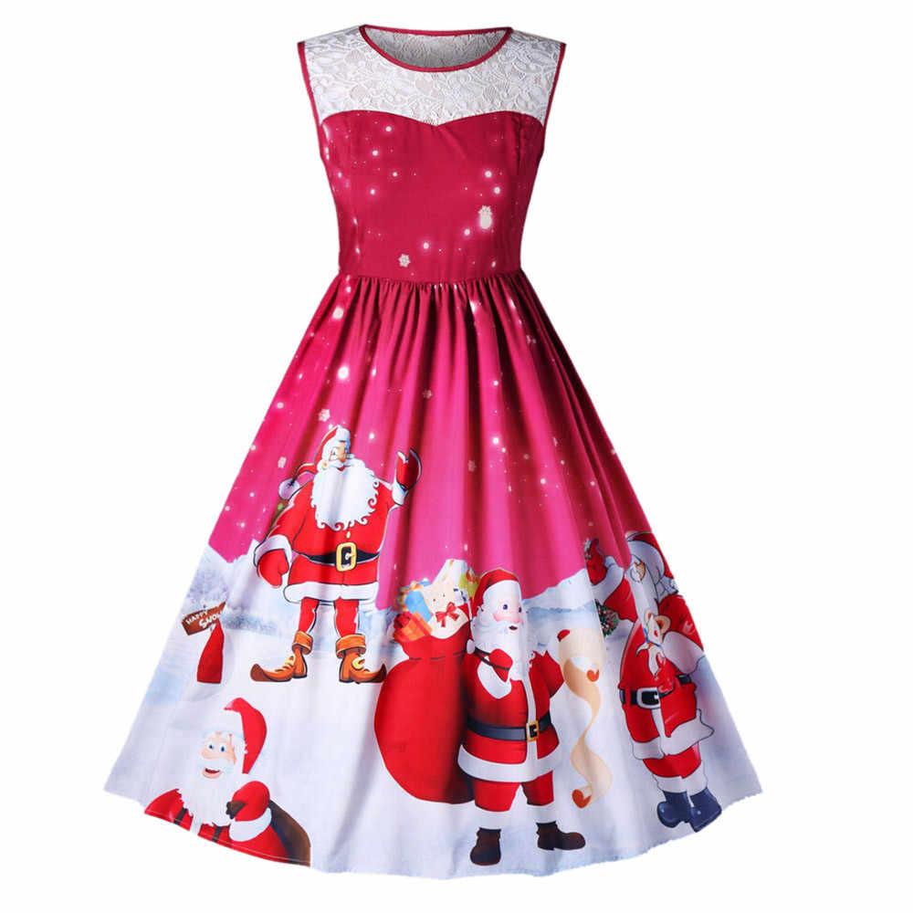 8a1b58ce99f Модное женское кружевное винтажное рождественское платье без рукавов с  принтом Санта-Клауса