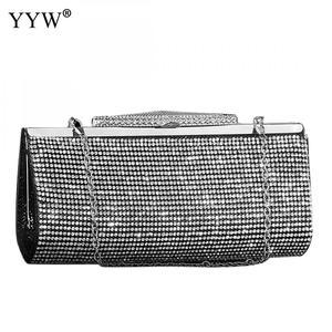 Image 4 - Evening Party Bags Clutch Bag crossbody bag Fashion Pu Leather Rhinestone Bridal Purse Women female chain wedding bag