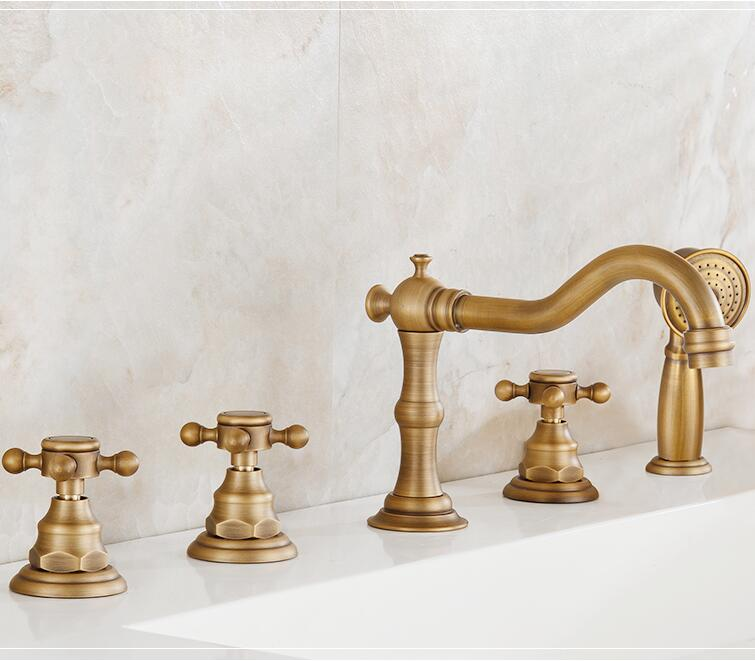 New arrival high quality total brass antique classic 5pcs Deck-Mounted bathroom bathtub faucet set Tub Filler Faucet Mixer Taps 1pca arrival high quality 5pcs   set hss