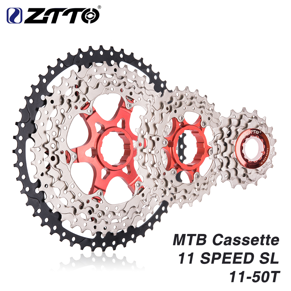 ZTTO MTB 11Speed SL Cassette 11s 11 - 50t Wide Ratio UltraLight Freewheel Mountain Bike Bicycle Parts for k7 X1 XO1 XX1 m9000 все цены