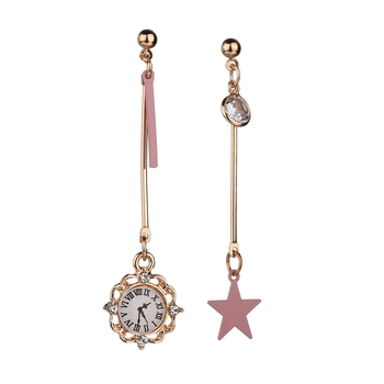 MissCyCy Trending Styles Cute Pink Star Clock Earrings for Women Asymmetry Stud Earrings Korean Fashion Jewelry Gift earrings