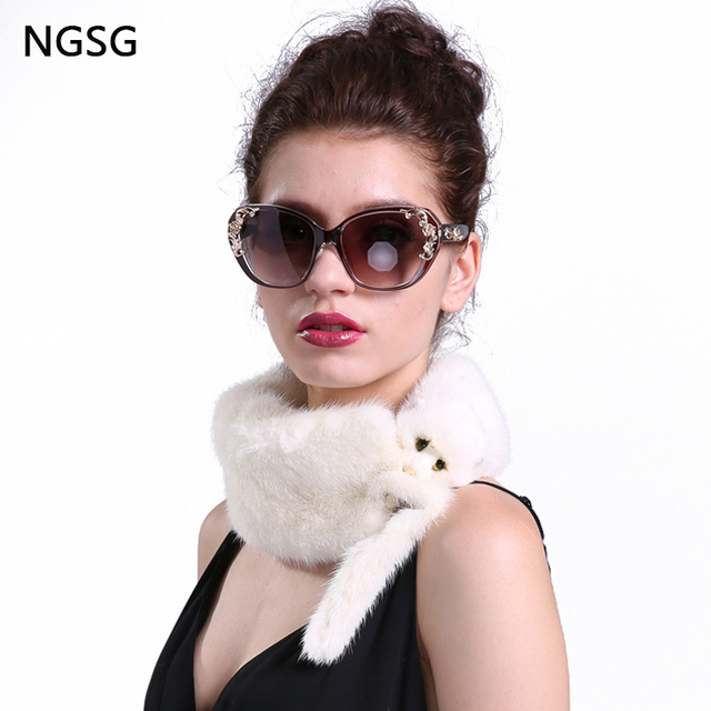9ff66278c9161 Real Mink Fur Scarf Collar Women Simple Anime Animal Solid White Head Neck  Warm Fur Mink Scarves Erchief for Girl's Gift