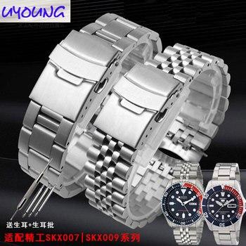 Pulsera original de acero inoxidable para hombre. Sustituto para SEI-KO Seiko skx007 009 SKX175 SKX173 banda de reloj 22mm