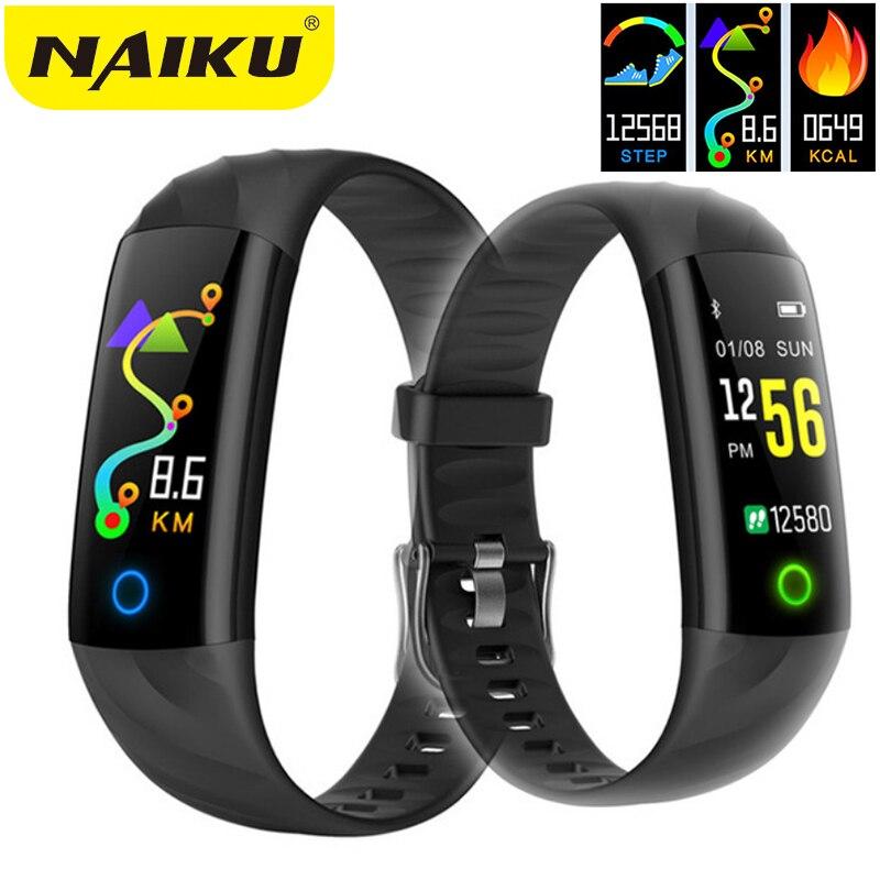 NAIKU Fréquence Cardiaque Fitness Bracelet IP68 Étanche Sang pression d'oxygène Moniteur Couleur Écran Activité Tracker Bande À Puce
