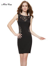 Women Clothing Dresses Alisa Pan  HE05176BK  Womens Sexy Black Round Neck Hollow Casual Party Dress