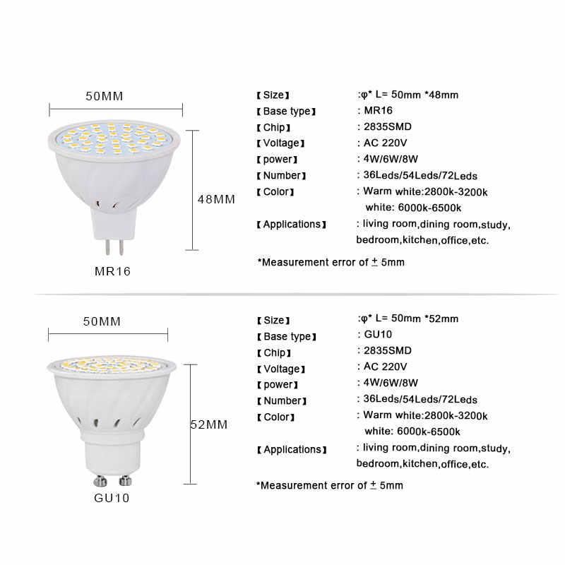 GU5.3 GU10 MR16 220V Lampada LED Spotlight 4W 5W 6W 7W 8W LED Lamp Light LED Bulb Table Downlight Ceiling Light Warm White Lamp