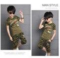2016 лето мальчики Футболка камуфляж костюмы, мальчик армия gree детская спортивная форма