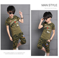 2016 summer boys camouflage T-shirt suits, boy army gree children's sports uniforms