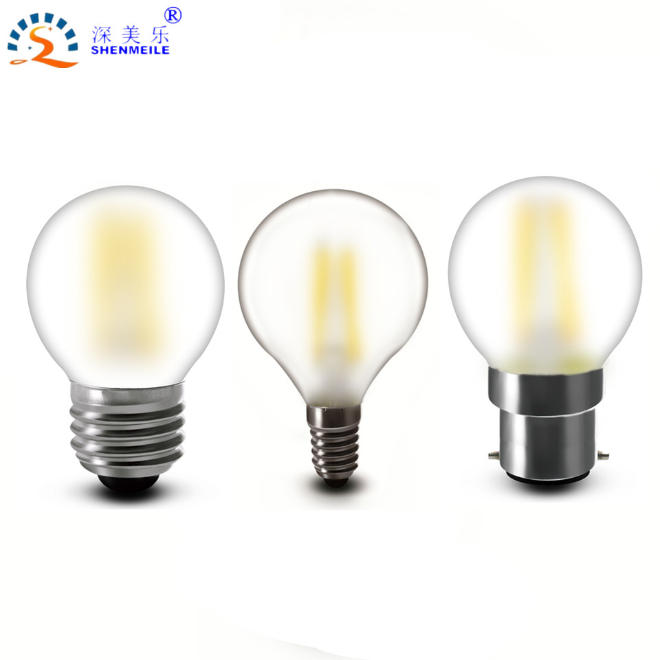 1pcs G45 Frosted E14 B22 E27 E12 E26 2w 4w 120v 220V Vintage Decorative Globe Ball Candle LED Filament Bulb Lamp Light CE RoHs