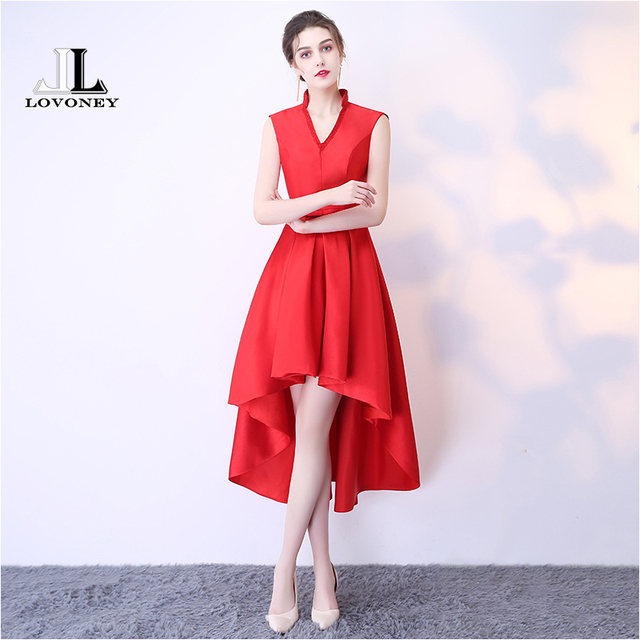 Lovoney Hs214 Real Photo Sexy V Neck High Low Red Short Prom Dresses