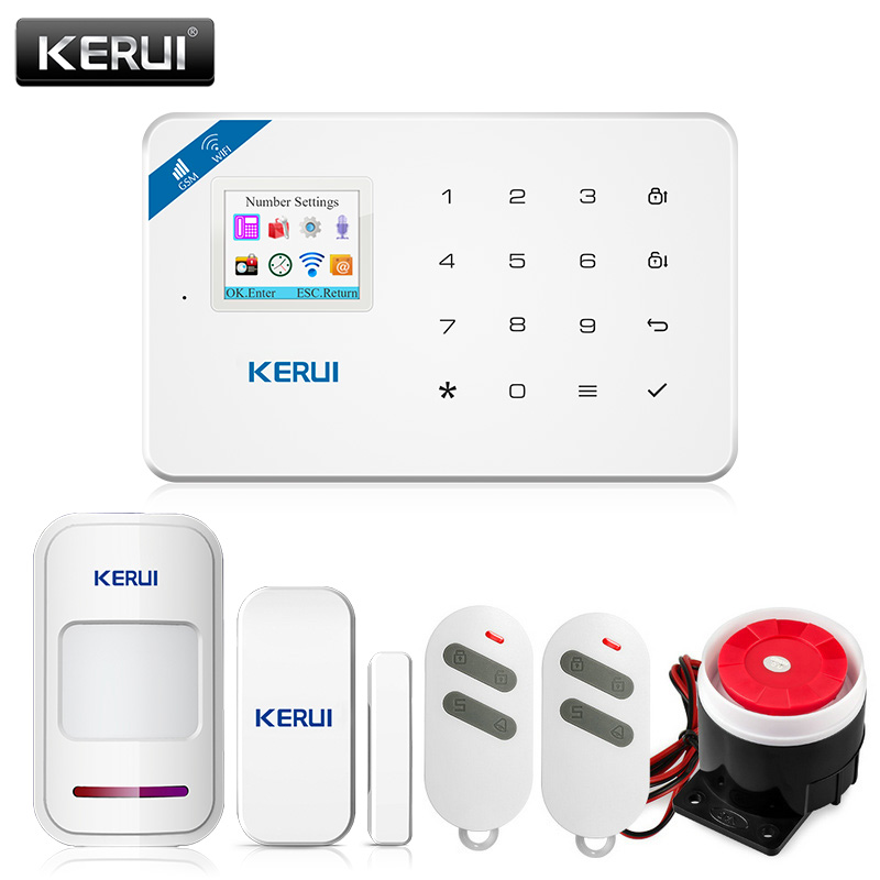 KERUI W18 Wireless Wifi GSM IOS/Android APP Control LCD GSM SMS Burglar Alarm System Set For Home Security Russian/English VoiceKERUI W18 Wireless Wifi GSM IOS/Android APP Control LCD GSM SMS Burglar Alarm System Set For Home Security Russian/English Voice
