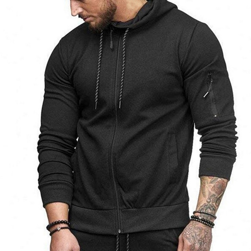 HTB1D bXaELrK1Rjy0Fjq6zYXFXaY HEFLASHOR Men Drawstring Sportwear Set Fashion Solid Sweatshirt&Pants Tracksuit Casual Zipper Hoodies Outwear Clothes 2019