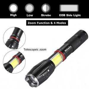 Image 2 - AloneFire G701 Multifunction Led flashlight 5000 Lumens CREE XML T6 torch hidden COB design flashlight tail super magnet design