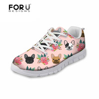220f864d4 FORUDESIGNS Women Sneaker French Bulldog Printing Light Weight Breathable  Mesh Shoes For Woman Casual Shoes 2018