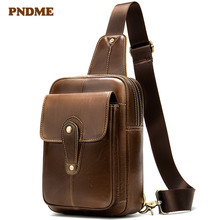 лучшая цена PNDME casual simple genuine leather men's chest bag first layer cowhide retro multi-function shoulder bag crossbody bags for men