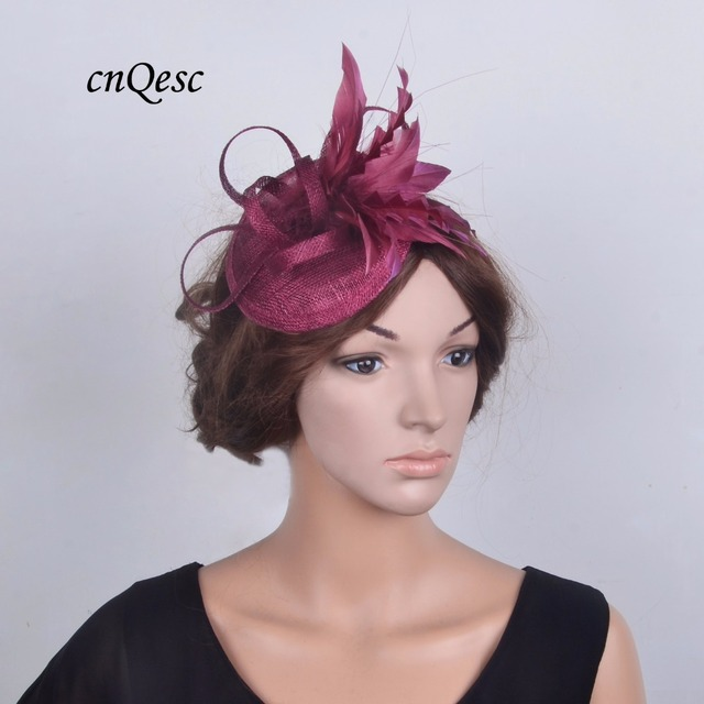 e72ba2c57e7d8 2019 NEW wine headband fascinator sinamay Kentucky Derby Hat fedora bridal  wedding headpiece mother of the bride for Ascot