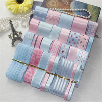 New 29 Yards Mix Lovely Blue Pink Series Printed Satin Grosgrain Organza Ribbon Set DIY Hairpin