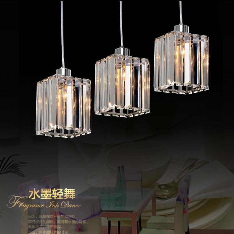ФОТО Modern Pendant Chandelier 15W LED Crystal Pendant Lamp Three Head Disc Tray and Rectangular Plate Optional Dia10cm,Height 80cm