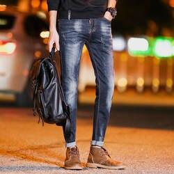 Осень Стрейч Тонкий мужские джинсы мужские прямые мужские Штаны повседневные штаны Весна и осень малый Облегающие штаны