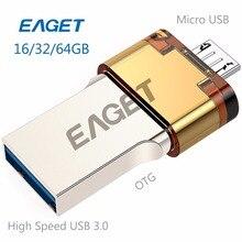 Eaget V80 флэш-накопитель USB OTG 16 ГБ/32 ГБ/64 ГБ MicroUSB USB 3.0 пройти H2 Тесты флешки высокое Скорость интерфейсом USB для смартфона ПК