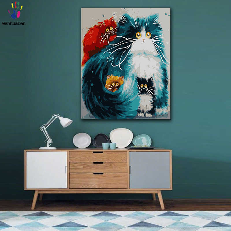 DIY Coloring paint by numbers Blue abstract color eye cat family figure paintings by numbers with kits 40x50 framed
