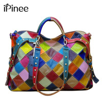 New Women Bowling Bags 2016 Casual Colorful Blocks Patchwork Women Tote Bags Genuine Leather Ladies Handbags