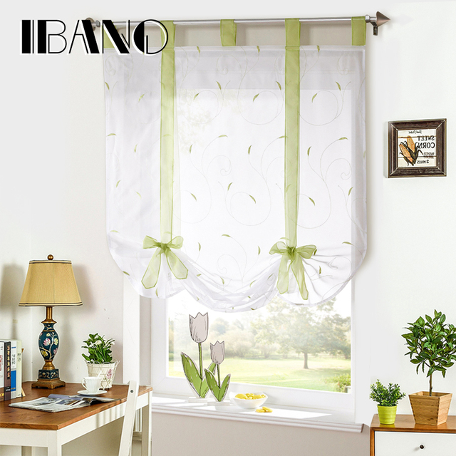roman shade european embroidery style tie up window curtain kitchen curtain voile sheer tab top window - Kitchen Curtain