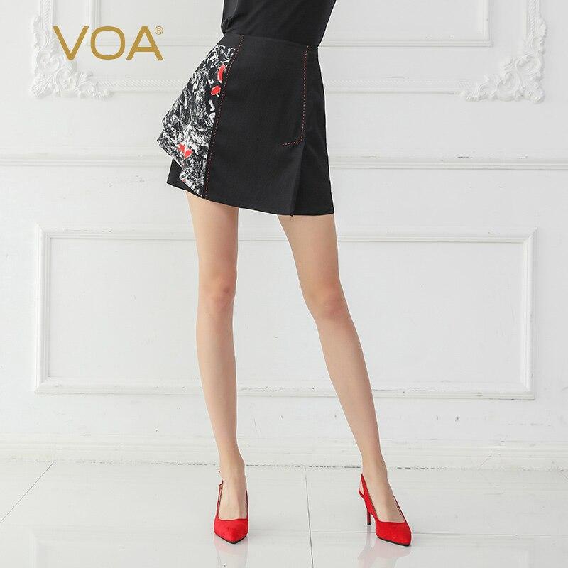 VOA Taille Haute Micro Mini jupes pour femme Sexy Club jupe crayon courte Noir jupe femme Kawaii saias spodnica streetwear C0612