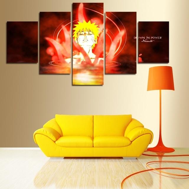 5 panel canvas art wall poster HD printed oil painting naruto anime ...