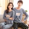 Pijamas Mulheres Sleepwear Amor Homens Para Conjunto de Pijama de Algodão Pijamas da Longo-Luva Stripe Panda Pijama Casal pullover 3XL