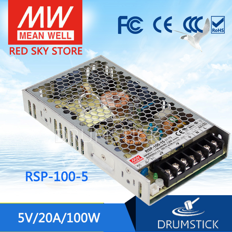 Genuine MEAN WELL RSP-100-5 5V 20A meanwell RSP-100 5V 100W Single Output with PFC Function Power Supply