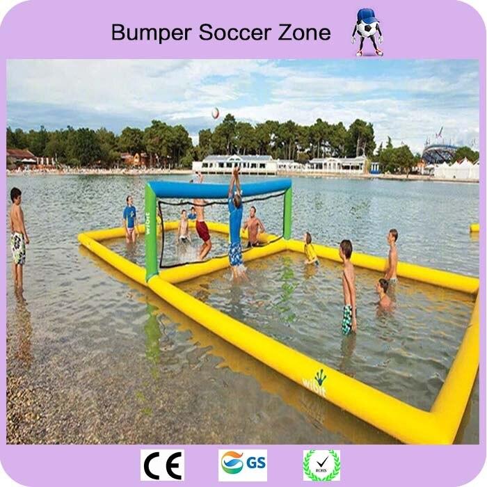 Бесплатная доставка 12*6 м захватывающая надувная площадка для водного волейбола, плавающая спортивная площадка, надувная пляжная спортивна