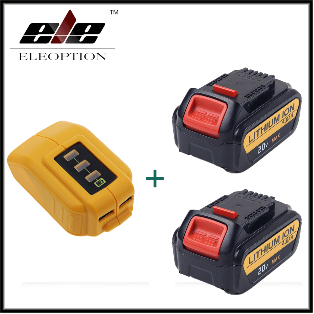 Eleoption 2x 20V 4000mAh Li-ion Replacement Battery For Dewalt DCB181 DCB18 DCD785 DCD795 + 1x DCB090 USB Power Source Addon eleoption 2pcs 18v 3000mah li ion power tools battery for hitachi drill bcl1815 bcl1830 ebm1830 327730