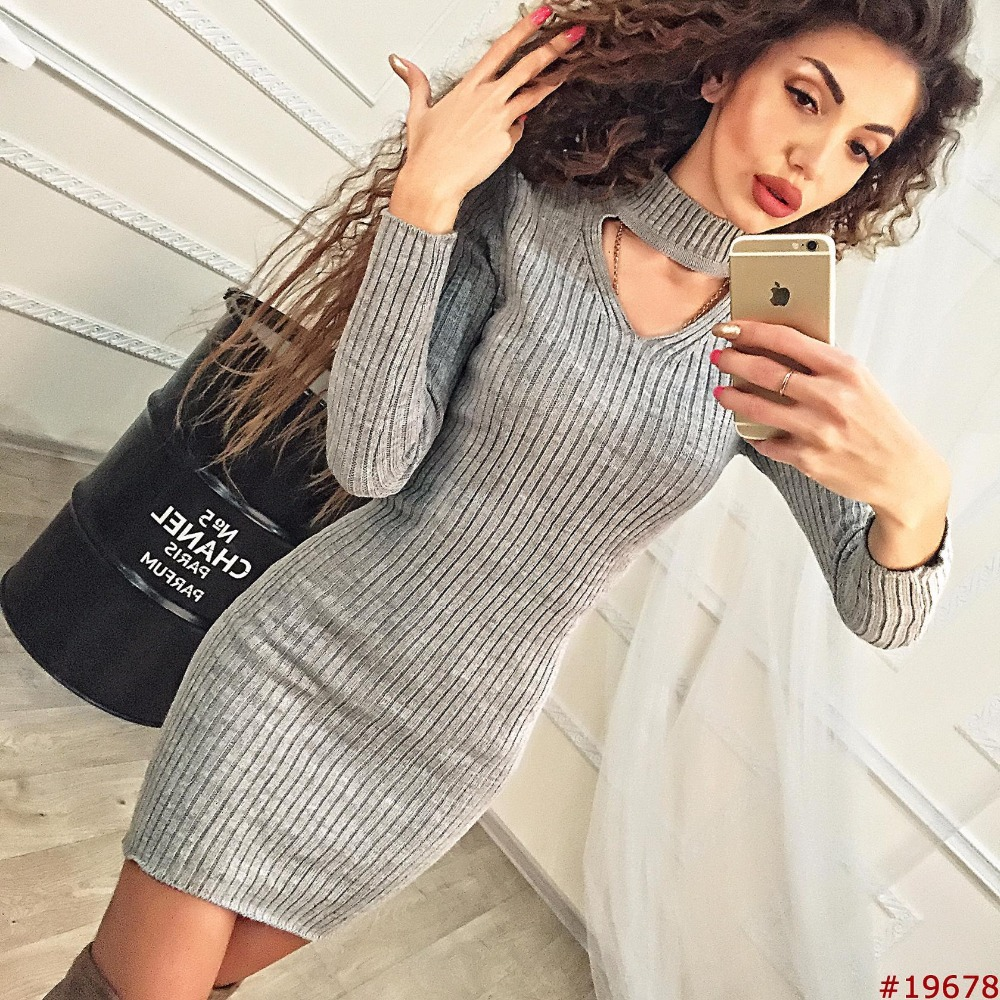 Women Clothes 2018 Autumn Long Sleeve Bodycon Casual Dress Fall Winter Slimming Solid Color Elegant Temperament Quality Dresses