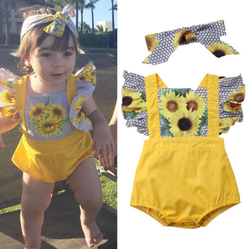 2018 Baby Girls PatchWork Sunflower Clothing Newborn Girls Ruffles   Romper   Jumpsuit Outfit Clothes