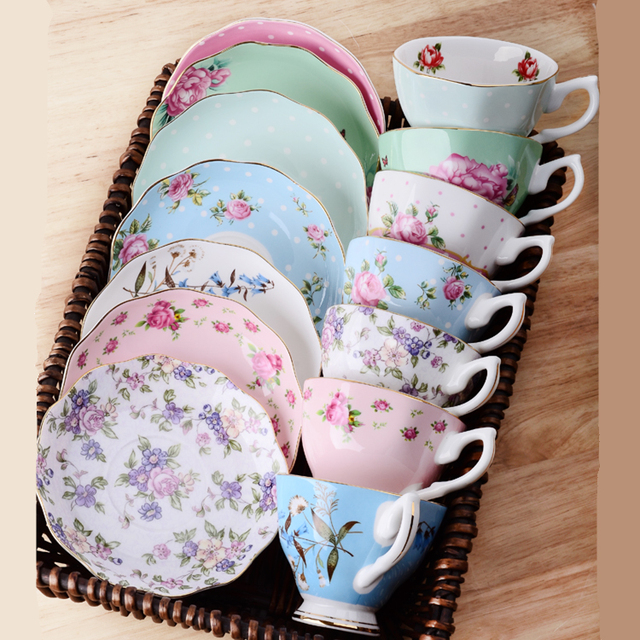 1 Pc Ceramics Afternoon Black Coffee Tea Cup European Style Bone China Cups Saucers