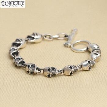 NEW! 925 Silver Skeleton Bracelet Thai Silver Skull Bracelet Real PURE Silver Vintage Style PUNK bracelet Man Jewelry Gift