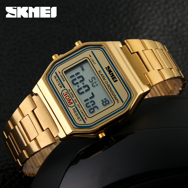 2016 SKMEI Top Brand Luxury Mens Watches LED Digital Watch Sports Watches Relojes Stainless Steel Military Waterproof Wristwatch